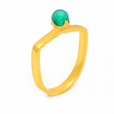 Round Balls Shape Green Onyx Gemstone 925 Sterling Silver Gold Plated Ring