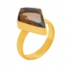 Fancy Kite Shape Smoky Quartz Gemstone 925 Sterling Silver Gold Plated Handmade Design Ring Jewelry