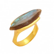Labradorite Marquise Shape Gemstone 925 Sterling Silver Gold Plated Ring Jewelry