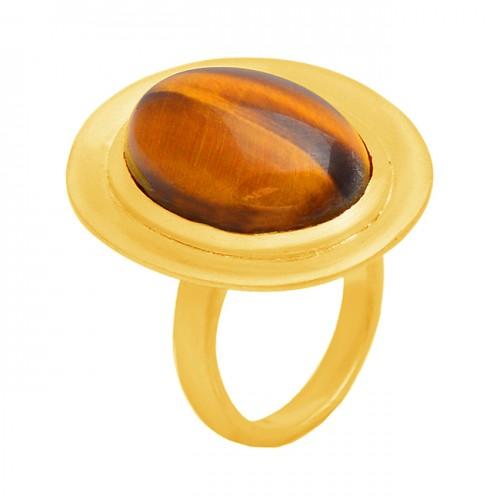 Oval Shape Tiger Eye Gemstone 925 Sterling Silver Gold Plated Designer Ring