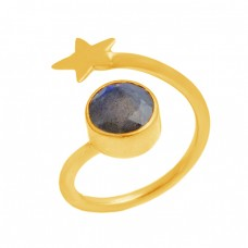 Star Shape Designer Round Shape Labradorite Gemstone 925 Silver Gold Plated Ring