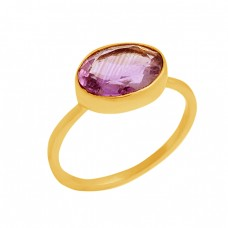Oval Cut Purple Amethyst Gemstone Handcrafted 925 Sterling Silver Gold Plated Ring Jewelry