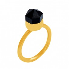 Black Onyx Pencil Shape Gemstone 925 Sterling Silver Gold Plated Ring Jewelry