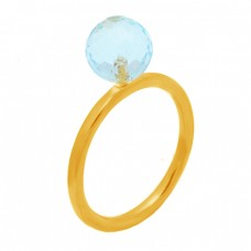 Round Balls Shape Blue Topaz Gemstone 925 Sterling Silver Gold Plated Ring