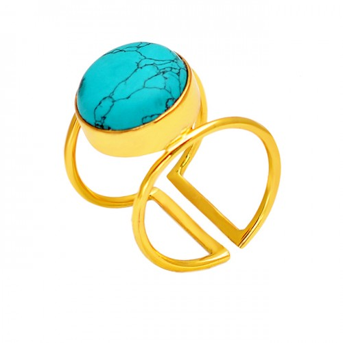 Round Cabochon Turquoise Gemstone 925 Sterling Silver Gold Plated Adjustable Ring Jewelry