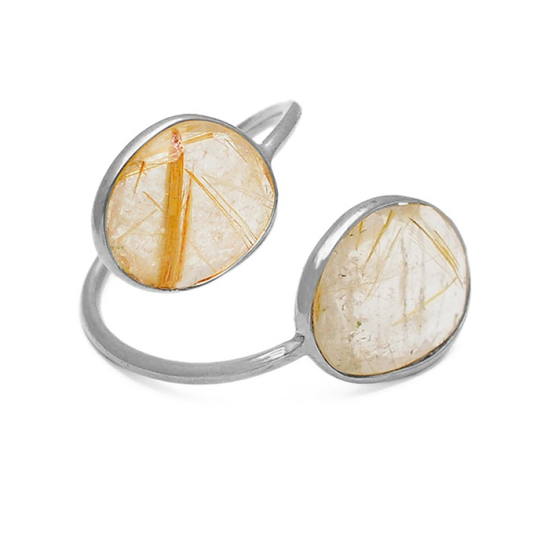 Adjustable Designer Ring Golden Rutile Gemstone 925 Sterling Silver Gold Plated Jewelry