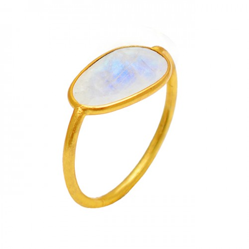 Rainbow Moonstone Long Oval Shape 925 Sterling Silver Gold Plated Ring Jewelry
