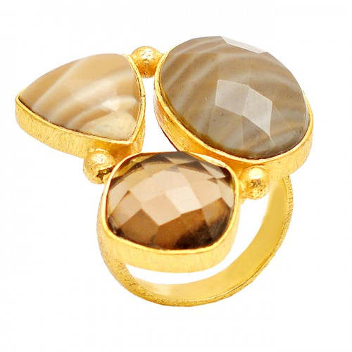 Smoky Quartz Flint Gemstone 925 Sterling Silver Gold Plated Designer Ring Jewelry
