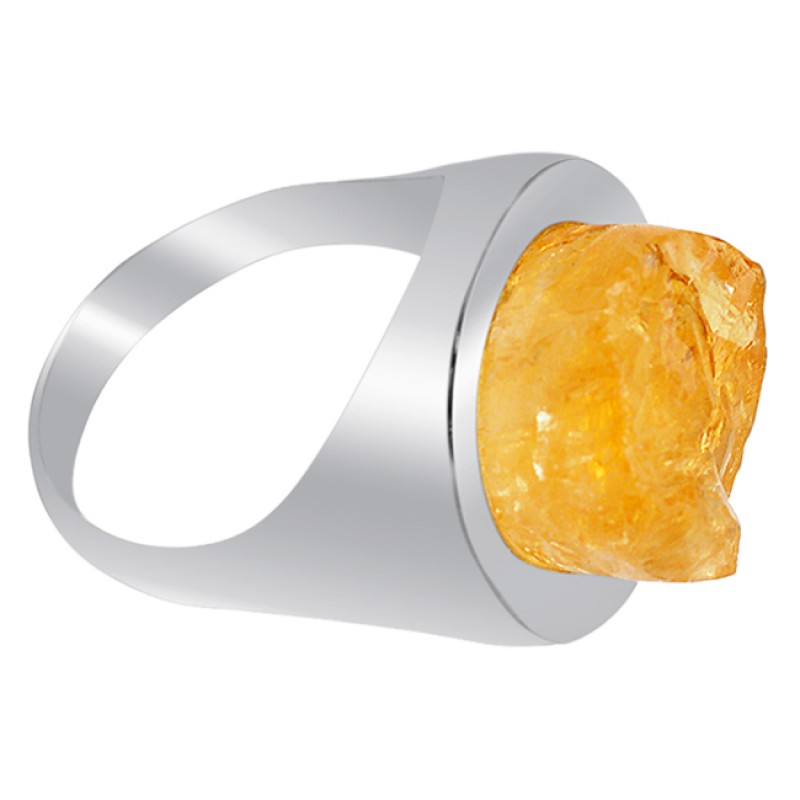 Raw Material Citrine Rough Gemstone 925 Sterling Silver Ring Jewelry