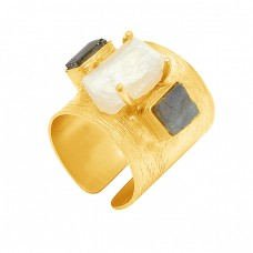 Labradorite Raibow Moonstone 925 Sterling Silver Gold Plated Adjustable Ring