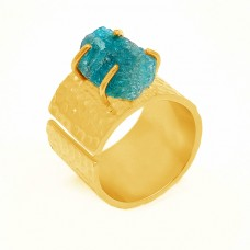 Amazonite Rough Gemstone 925 Sterling Silver Gold Plated Prong Setting Ring