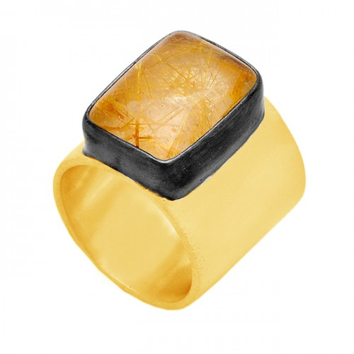 Rectangle Shape Golden Rutile Quartz Gemstone 925 Silver Gold Plated Ring