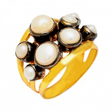 Round Cabochon Pearl Gemstone 925 Sterling Silver Gold Plated Cocktail Ring