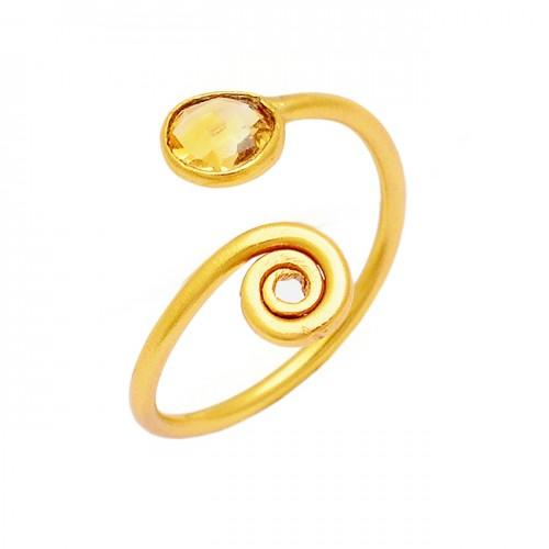 925 Sterling Silver Round Shape Citrine Gemstone Gold Plated Designer Ring