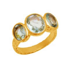 Faceted Oval Blue Topaz Gemstone 925 Sterling Silver Gold Plated Ring Jewelry
