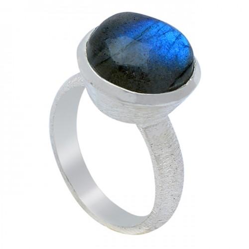 Nice Blue Shine Labradorite Gemstone 925 Sterling Silver Handmade Ring Jewelry