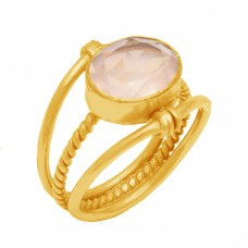 Oval Shape Rose Quartz Gemstone 925 Sterling Silver Gold Plated Ring Jewelry