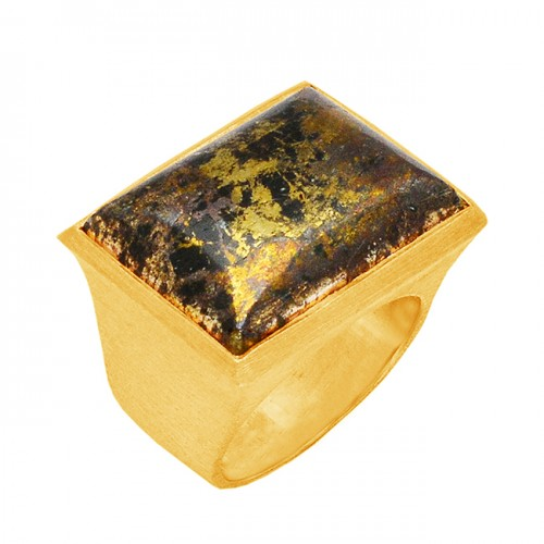 Rectangle Shape Apache Gold Gemstone 925 Sterling Silver Gold Plated Ring