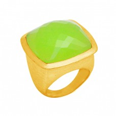 925 Sterling Silver Cushion Shape Prehnite Chalcedony Gemstone Gold Plated Ring