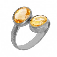 Briolette Oval Citrine Gemstone Handmade 925 Sterling Silver Gold Plated Ring Jewelry