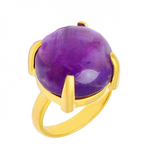 Cabochon Round Shape Amethyst Gemstone 925 Silver Gold Plated Ring Jewelry