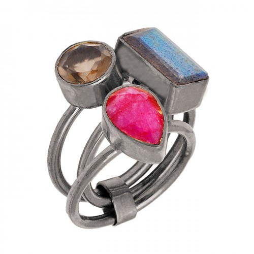 Labradorite Ruby Smoky Quartz Gemstone Handmade 925 Sterling Silver Gold Plated Jewelry Ring
