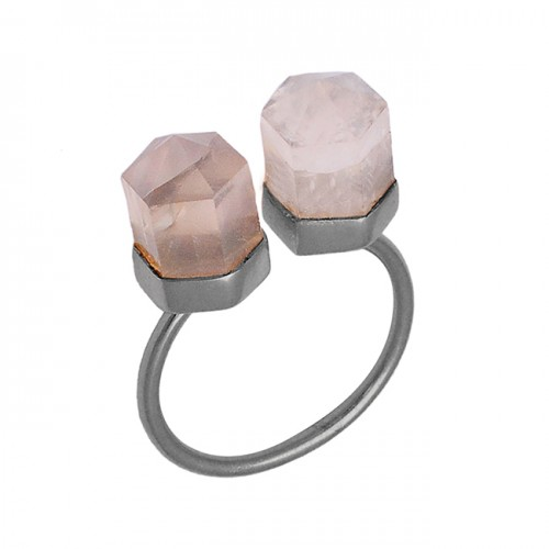 925 Sterling Silver Pencil Shape Rose Quartz Gemstone Gold Plated Ring