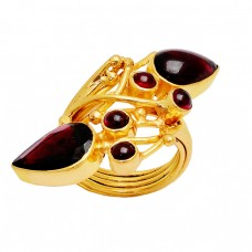 Pear Round Shape Garnet Gemstone 925 Sterling Silver Gold Plated Ring Jewelry