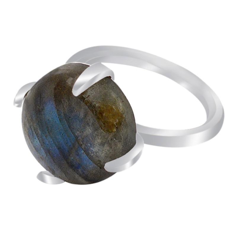 Prong Setting Round Labradorite Gemstone 925 Sterling Silver Handmade Ring Jewelry