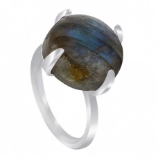 Prong Setting Round Labradorite Gemstone 925 Sterling Silver Handmade Ring Jewelry