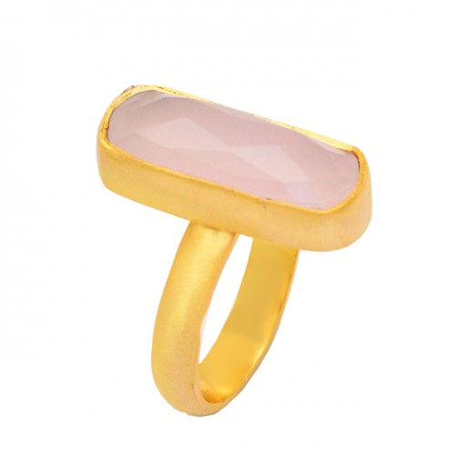 Rectangle Briolette Rose Chalcedony Gemstone 925 Sterling Silver Gold Plated Handcrafted Ring Jewelry