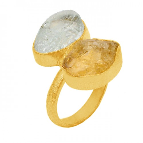 Citrine Crystal Quartz Raw Material Rough Gemstone 925 Sterling Silver Gold Plated Ring Jewelry
