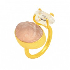 Rose Quartz Herkimer Diamond Rough Gemstone 925 Silver Gold Plated Ring