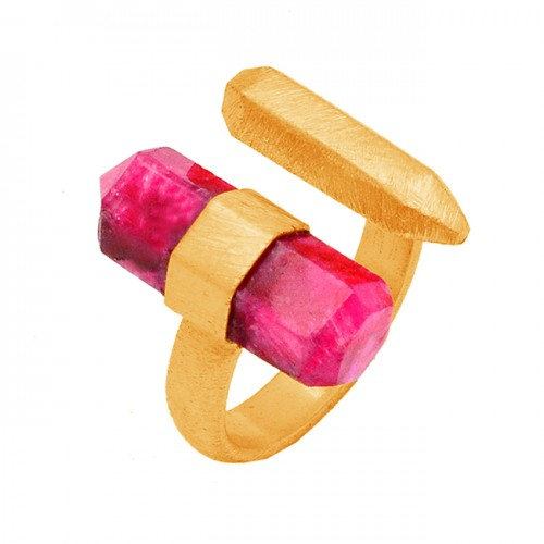 Ruby Pencil Shape Gemstone 925 Sterling Silver Gold Plated Ring Jewelry