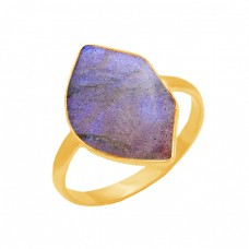 925 Sterling Silver Labradorite Gemstone Gold Plated Handmade Designer Ring