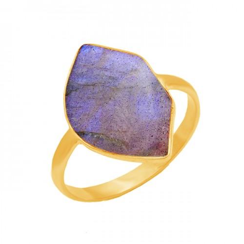 925 Sterling Silver Labradorite Gemstone Gold Plated Handmade Designer Ring