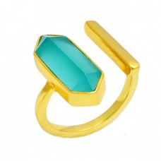 Aqua Color Chalcedony Gemstone Adjustable Ring 925 Sterling Silver Gold Plated Handmade Jewelry