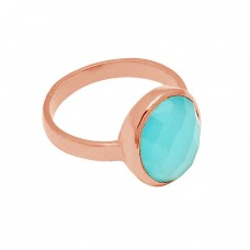 925 Sterling Silver Gold Plate Aqua Chalcedony Round Briolette Shape Ring Jewelry