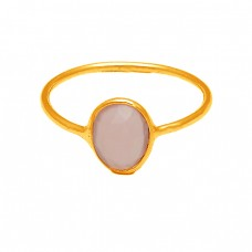 Oval Shape Rose Chalcedony Gemstone 925 Sterling Silver Gold Plated Ring