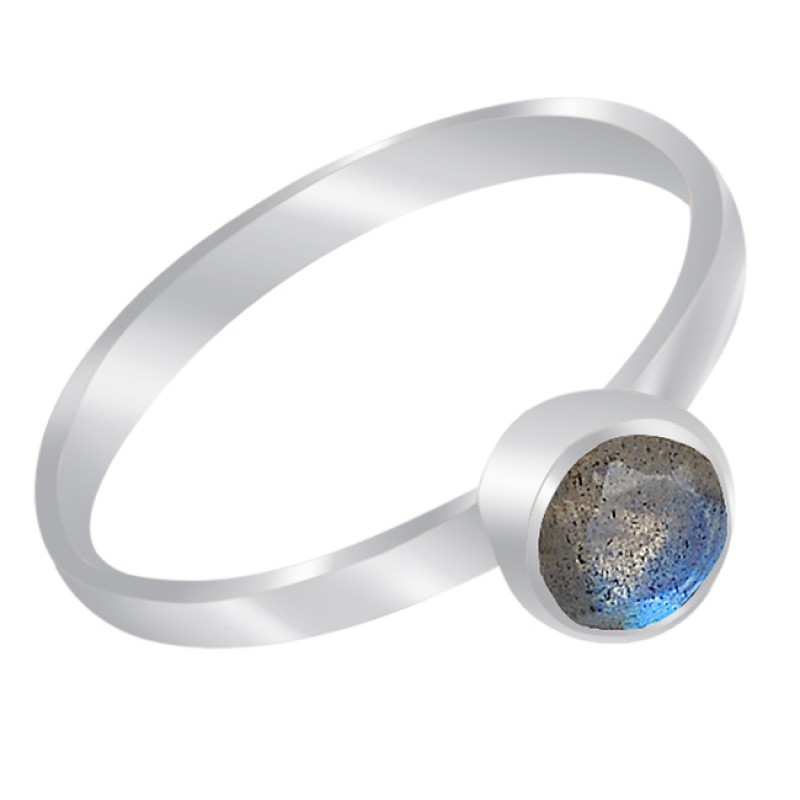Faceted Round Shape Labradorite Gemstone 925 Sterling Silver Handcrafted Ring Jewelry