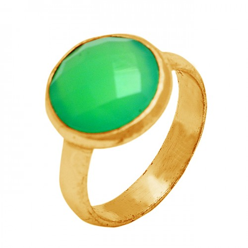 Round Shape Prehnite Chalcedony Gemstone 925 Sterling Silver Gold Plated Ring