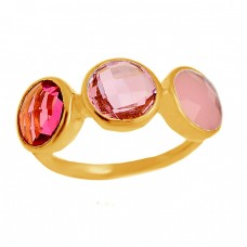 Pink Rose Color Quartz Gemstone Round Briolette Shape 925 Sterling Silver Gold Plated Ring