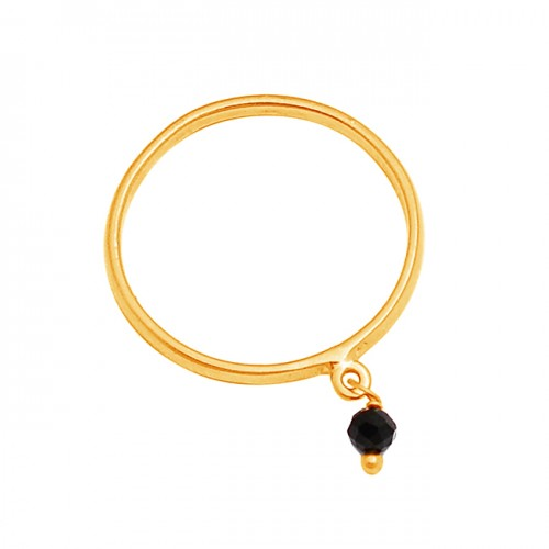 Roundel Beads Shape Black Onyx Gemstone 925 Sterling Silver Gold Plated Ring