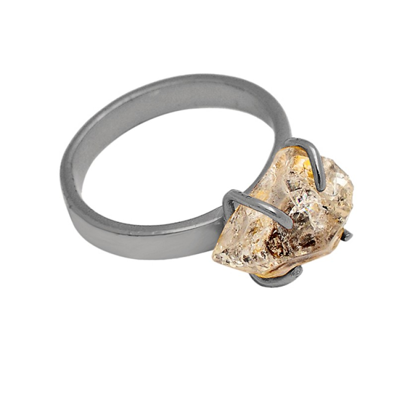 Herkimer Diamond Uncut Shape Gemstone 925 Sterling Silver Gold Plated Handmade Ring Jewelry