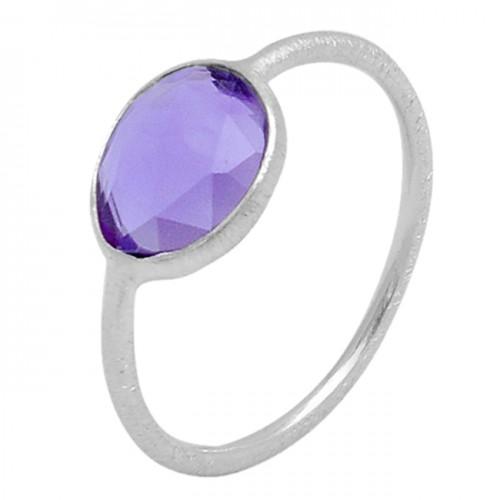 Purple Amethyst Gemstone Handmade 925 Sterling Silver Lite Weight Jewelry Rings