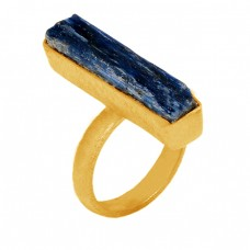 Blue Kyanite Rectangle Shape Gemstone 925 Sterling Silver Gold Plated Ring Jewelry