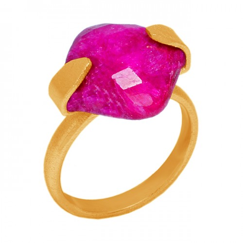 Square Shape Ruby Gemstone 925 Sterling Silver Gold Plated Handmade Ring