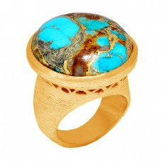 Round Shape Blue Copper Turquoise Gemstone 925 Sterling Silver Gold Plated Ring