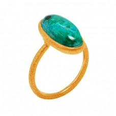 Chrysocolla Cabochon oval Gemstone Handcrafted 925 Sterling Silver Gold Plated Jewellery Ring