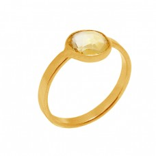 Round Shape Citrine Gemstone 925 Sterling Silver Gold Plated Ring Jewerly